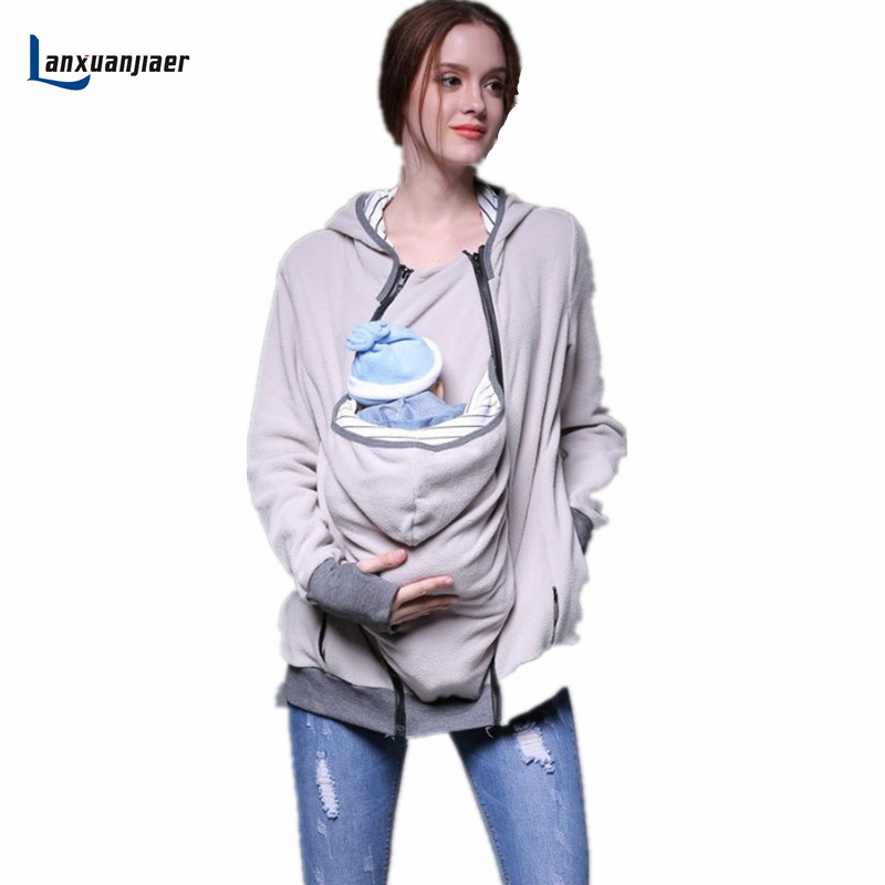Lanxuanjiaer Baby Carrier Jacket Kangaroo Winter Maternity Outerwear For Pregnant Women Thickened Pregnancy Baby Wearing Coat autumn winter hooded maternity hoodies coat kangaroo baby carrier jacket for pregnant women clothes pregnancy sweatshirts
