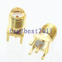 100 pcs Connecteur SMA jack pin solder PCB montage RF COAXIAL droite