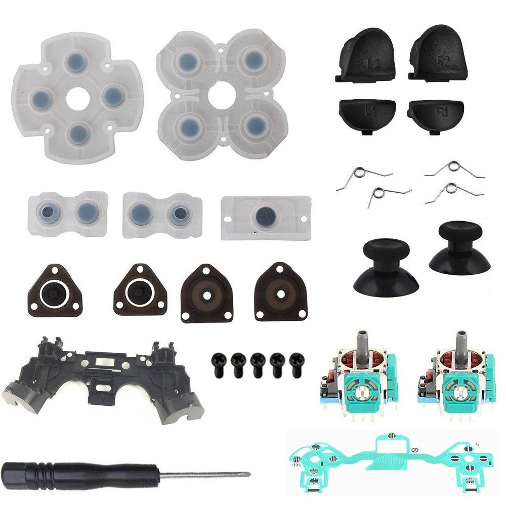 PS4 Controller Repair Kit R1L1R2L2 Trigger Buttons 3D Analog Joysticks Thumb Sticks Cap Conductive Rubber Film Screwdriver PS 4