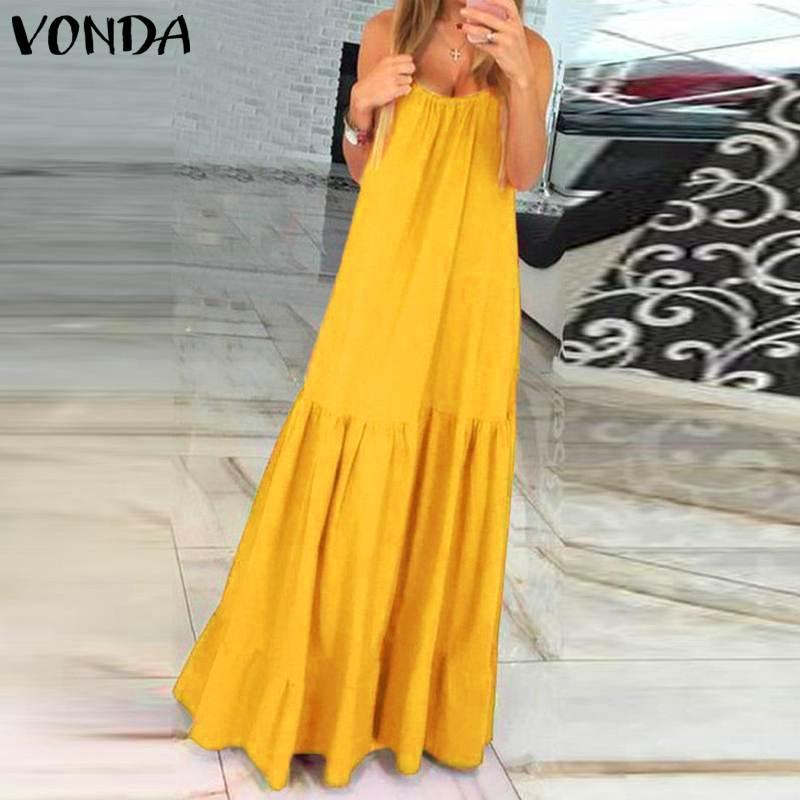 VONDA Bohemian Dress Women 19 Summer Sexy Sleeveless Spaghetti Strap Ruffle Swings Maxi Long Dresses Holiday Vestido Plus Size 11
