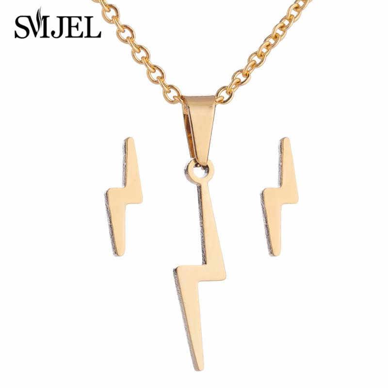 SMJEL Simple acier inoxydable soleil fleur colliers pour femmes Rock foudre boucles d'oreilles Stud petite amie cadeaux fête Chic bijoux