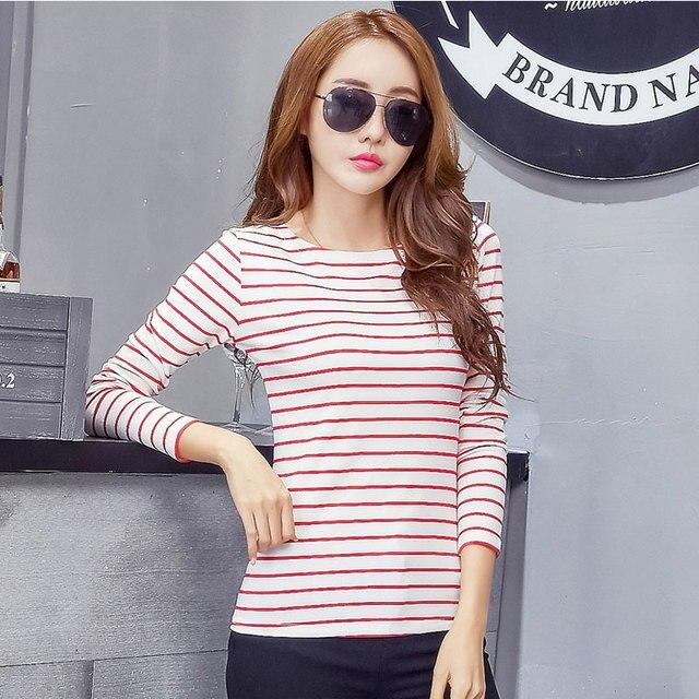 Plus Size 5XL T-shirt Women Tops Fashion Spring 2018 New Arrival Striped T Shirt Long Sleeve Cotton Slim Casual Tee Shirt Femme