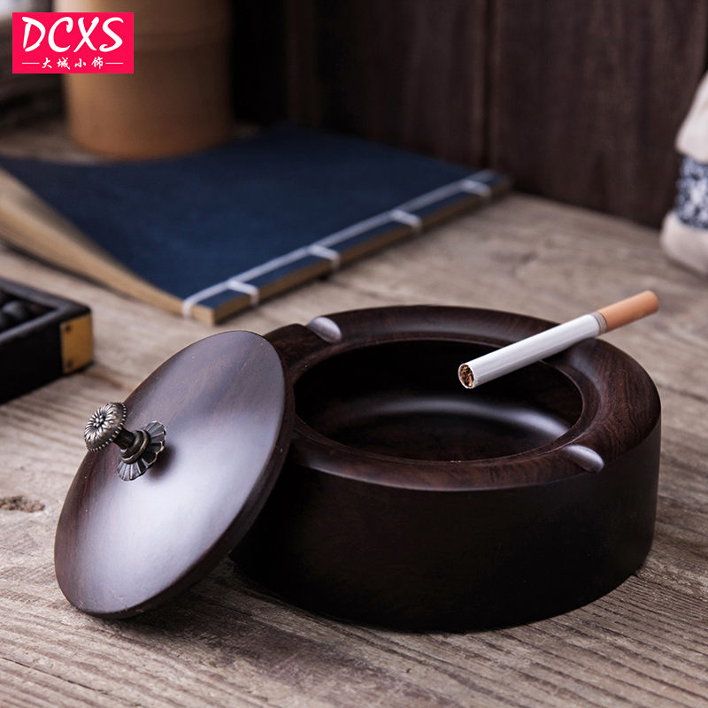 Household Merchandises Smoking Accessories Chinese Style Ebony carving Vintage Office Ashtray
