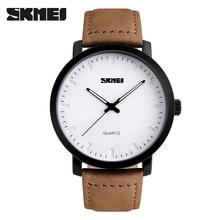 SKMEI Brand Luxury Men Watch Fashion Casual Watches Relogio Masculino Genuine Leather 30m Waterproof Mens Quartz Wristwatches