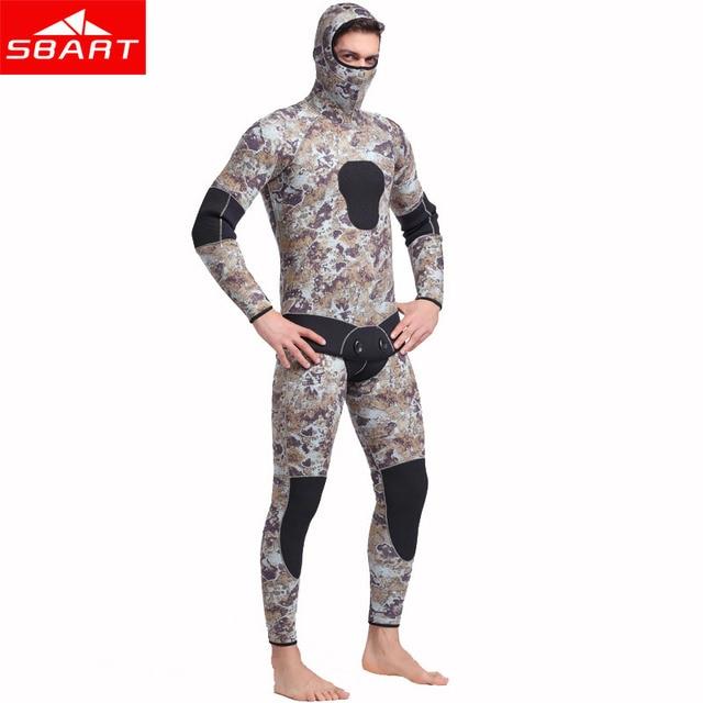 5MM Neoprene Scuba Diving Wetsuit Two Pieces Split Keep Warm Full Hooded Zipper Spearfishing Wet Suit For Men Winter Deep Diving