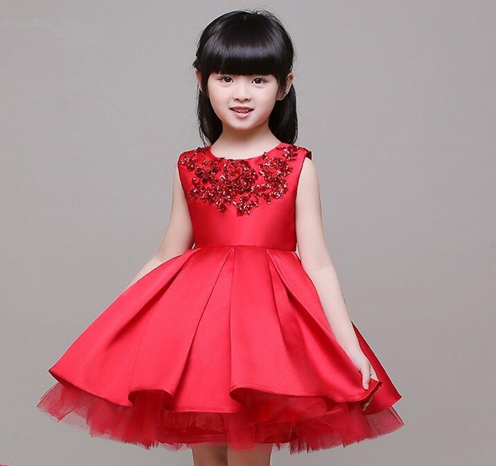 3 12 T Marca Satén Flor Chica Vestido Rojo Lentejuelas