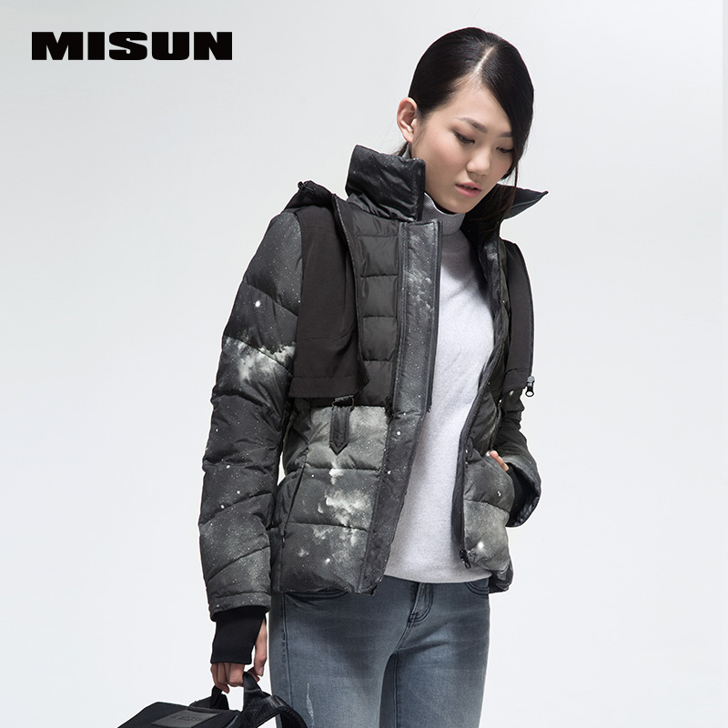MISUN Womens Clothing Down Jackets 2018 Slim Short Colorant Match 2 Piece Suit Long-Sleeve Zip Detachable Hooded Coat MSD-G116
