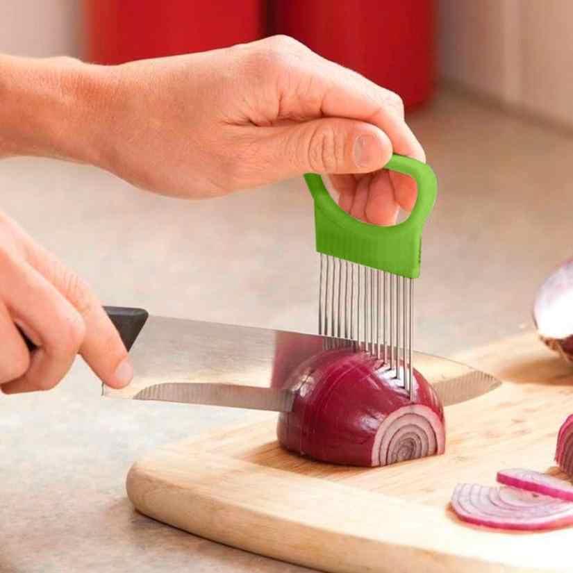2017 nova shrendders & slicers tomate cebola legumes slicer suporte de ajuda de corte guia corte cortador garfo seguro