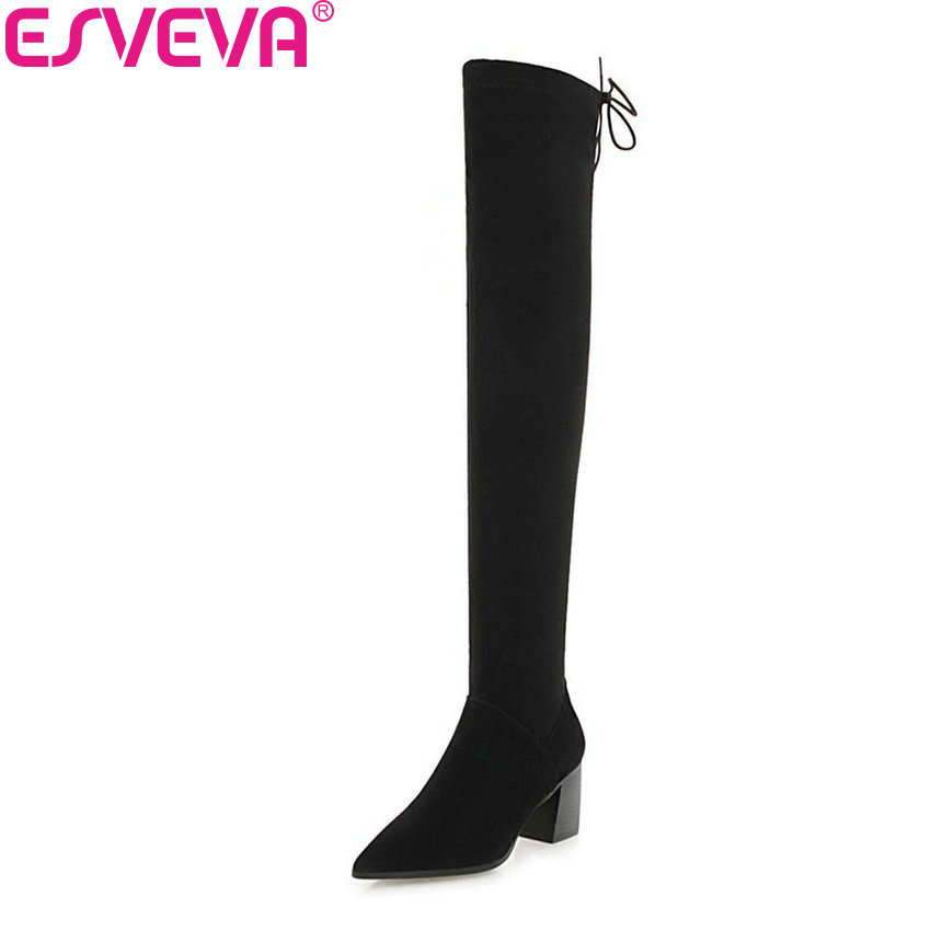 ESVEVA 2019 Women Boots Square High Heels Pointed Toe Shoes Woman Over The Knee Boots Solid Zipper Winter Long Shoes Size 34-43 anmairon high heels lace charms shoes woman over the knee boots zippers round toe long boots size 34 39 black winter boots shoes