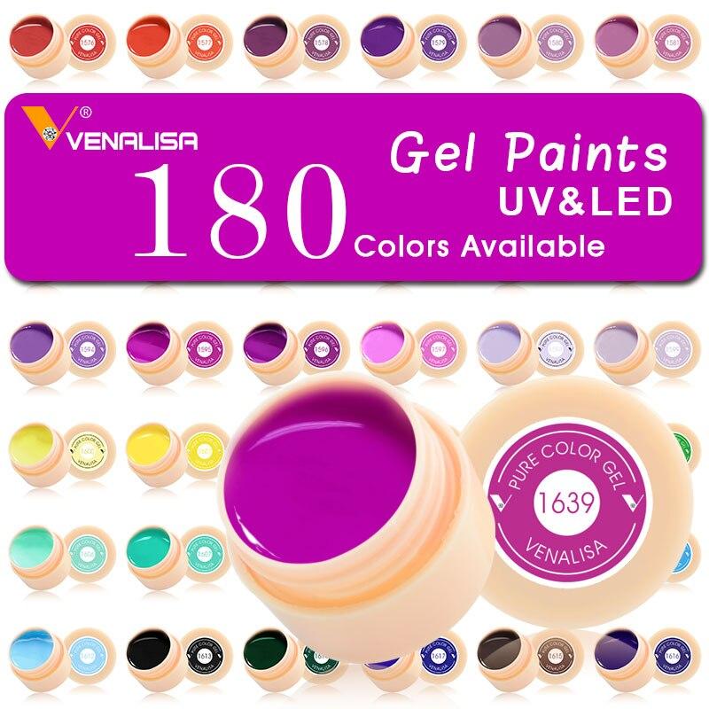 #50638 180 Colori/set Unghie artistiche Vernice Gel CANNI Fabbrica di Colore Puro DIY Della Decorazione di scintillio polvere Pittura LED & UV Gel di colore