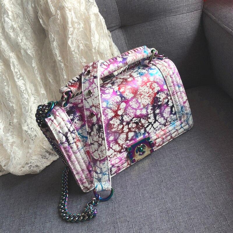 Arc-en-ciel femmes sacs à bandoulière chaîne sac femmes PU cuir célèbre marque femme luxe sacs à main designer 2019 a sac