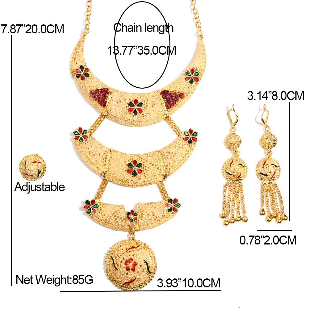 32075d7097dcf JUST FEEL Luxury Golden Jewelry Sets Wedding Indian Arab Dubai Crystal  Large 3 Layer Necklace Tassel Earrings Ring Set For Women