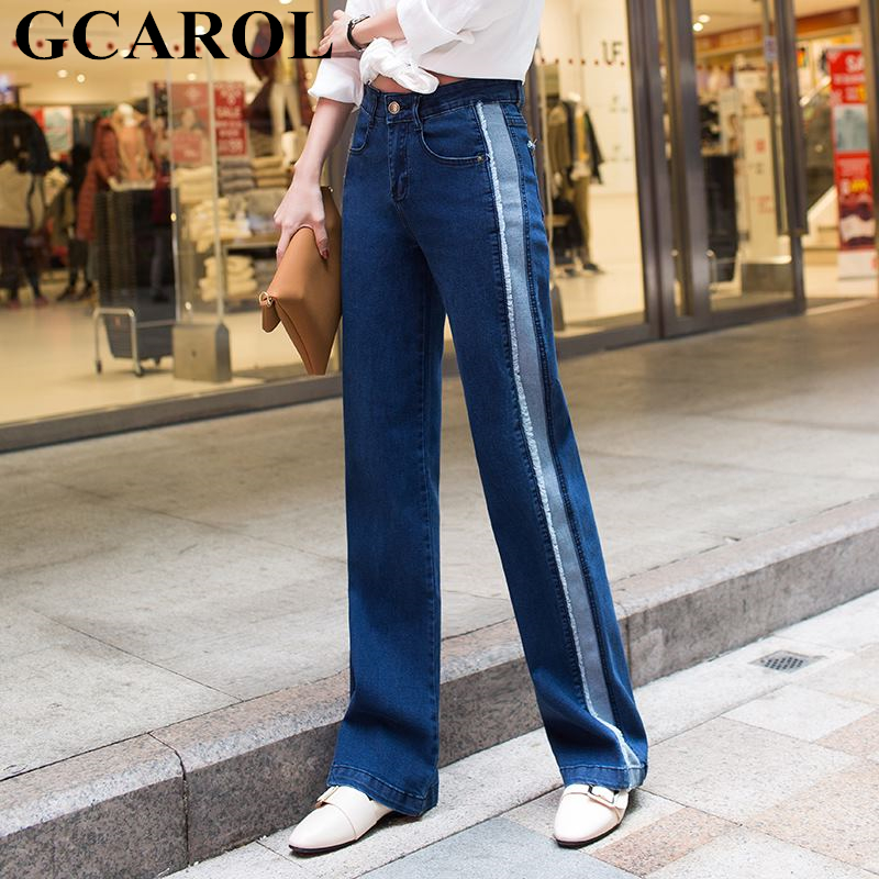 GCAROL Euro Style Women Straight Denim   Jeans   High Waisted Striped Spliced Wide Leg Pants Street Wear   Jeans   Plus Size 25-31