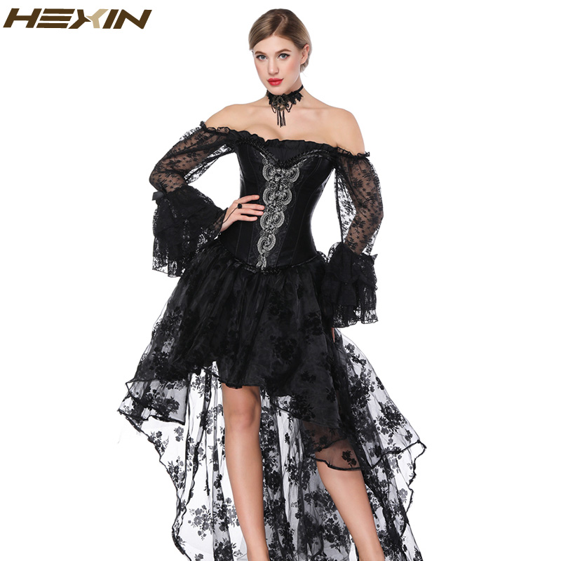 HEXIN Women's Sexy Gothic   Corset   and   Bustiers   dress   corset   Steampunk Flounce skirt Black Lace Party Dress Femme Dress NO Sleeves