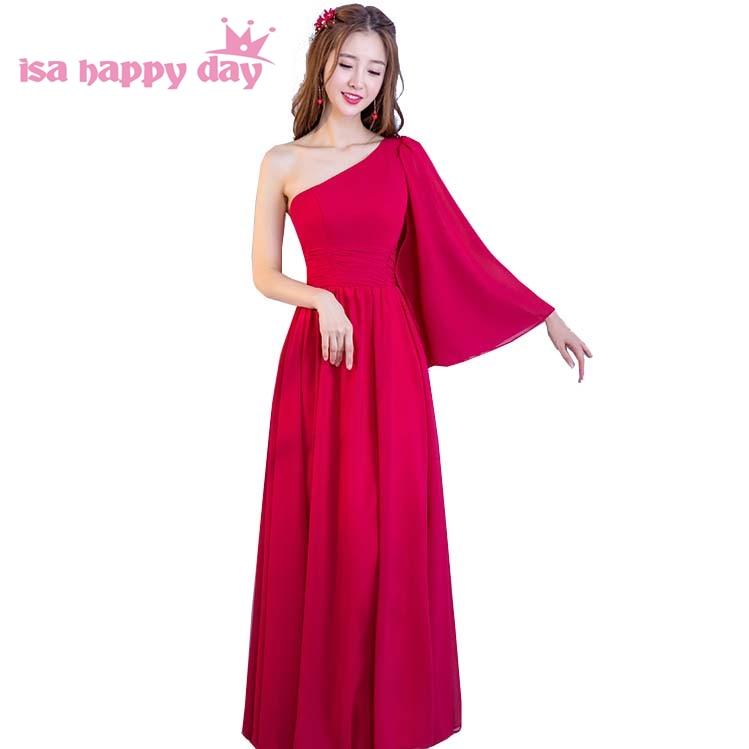 1d971676e Longo de uma linha de um ombro chiffon sexy das mulheres formal especial  ocasião vestidos prom party vestidos de 2018 chegada nova moda H4161