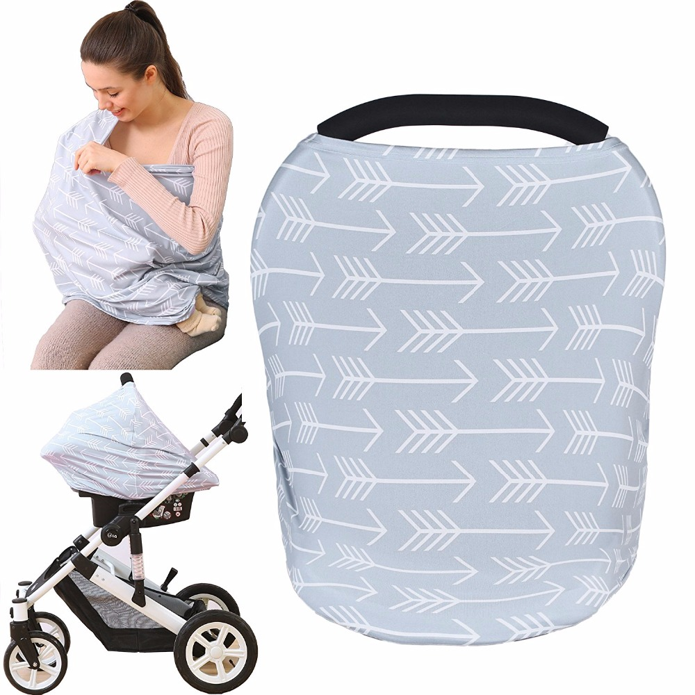 Baby Car Seat Cover Stretchy Multi-use Nursing Cover Breastfeeding Cover Scarf for Stroller and Shopping Cart Baby Carrier