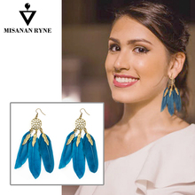 Купить с кэшбэком 2016 Dream Catcher Hollow out Vintage Leaf Feather Dangle Earrings For Women Bohemia Style Earring Lady's Ethnic Indian Jewelry