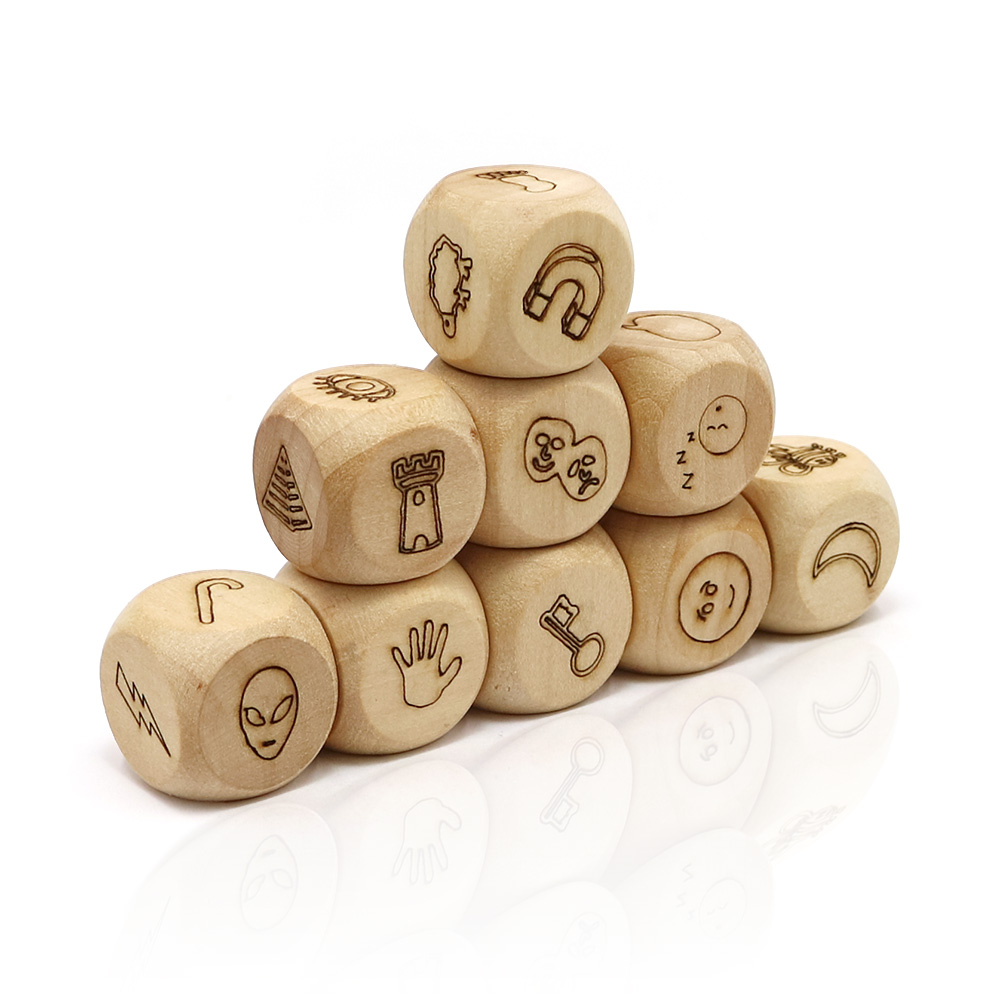 new story dice game telling a story by pattern wood cube for kids Education development family party fun board game