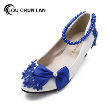 Wedding Shoes 3cm/5cm/8cm Heel White Pearl Bride Bridesmaid performance blue Bow Formal Dress Shoes Women Pumps Free Shipping