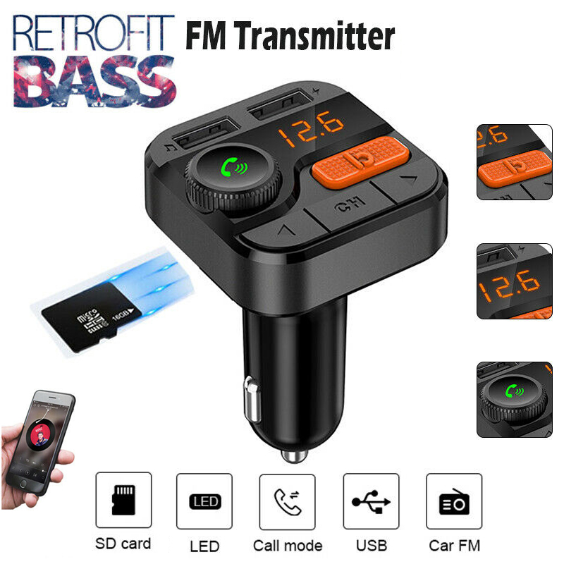 5.0 Car Charger For Mobilie Cell Phone MP3 Player FM Transmitter Radio Adapter USB Kit Smart Charging