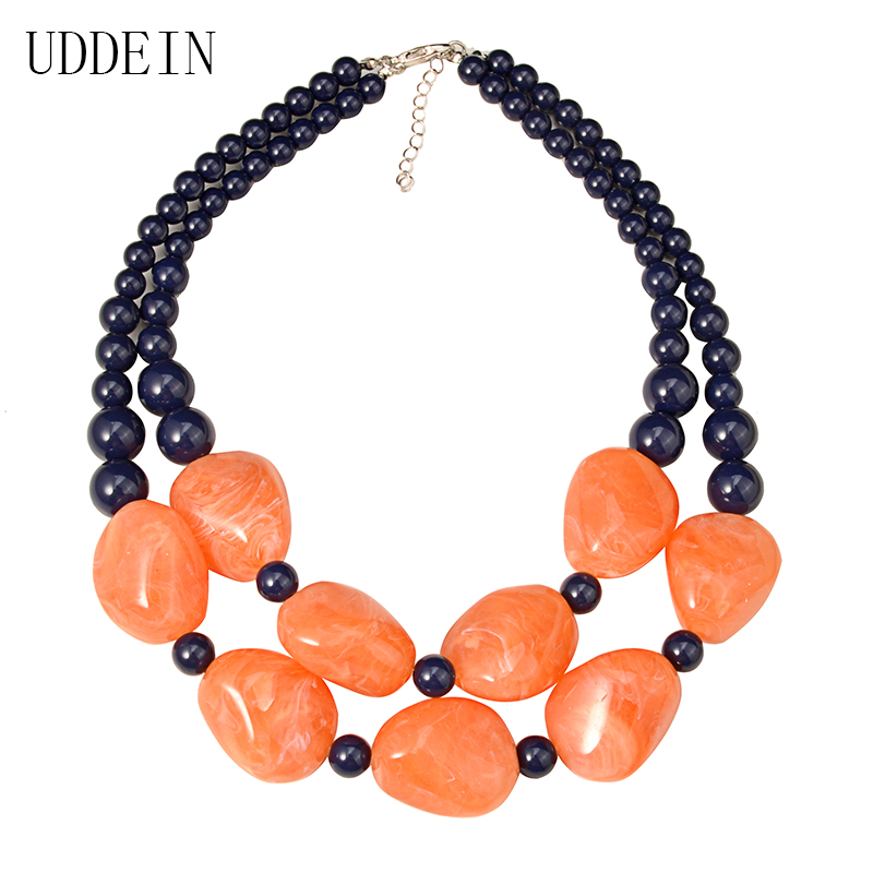 UDDEIN bohemian maxi necklace women double layer beads chain resin gem vintage statement choker necklace & pendant jewellery 6