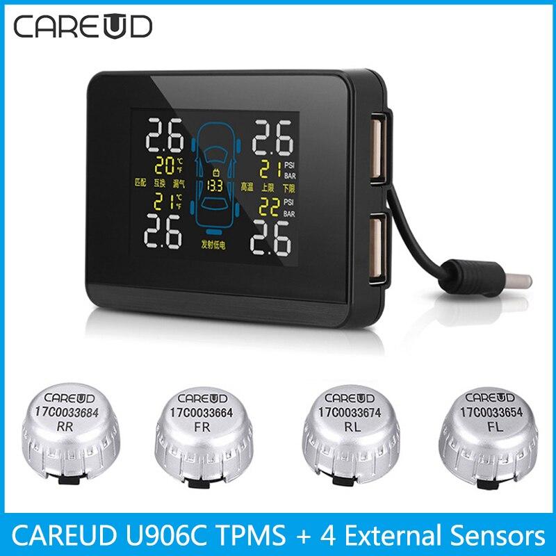 CAREUD U906C Car TPMS 2 USB Ports for SmartPhone Wireless Tire Pressure Monitor Alarm System with 4 External Sensors