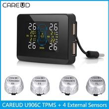 CAREUD U906C Car TPMS 2 USB Ports for SmartPhone Wireless Tire Pressure Monitor Alarm System with