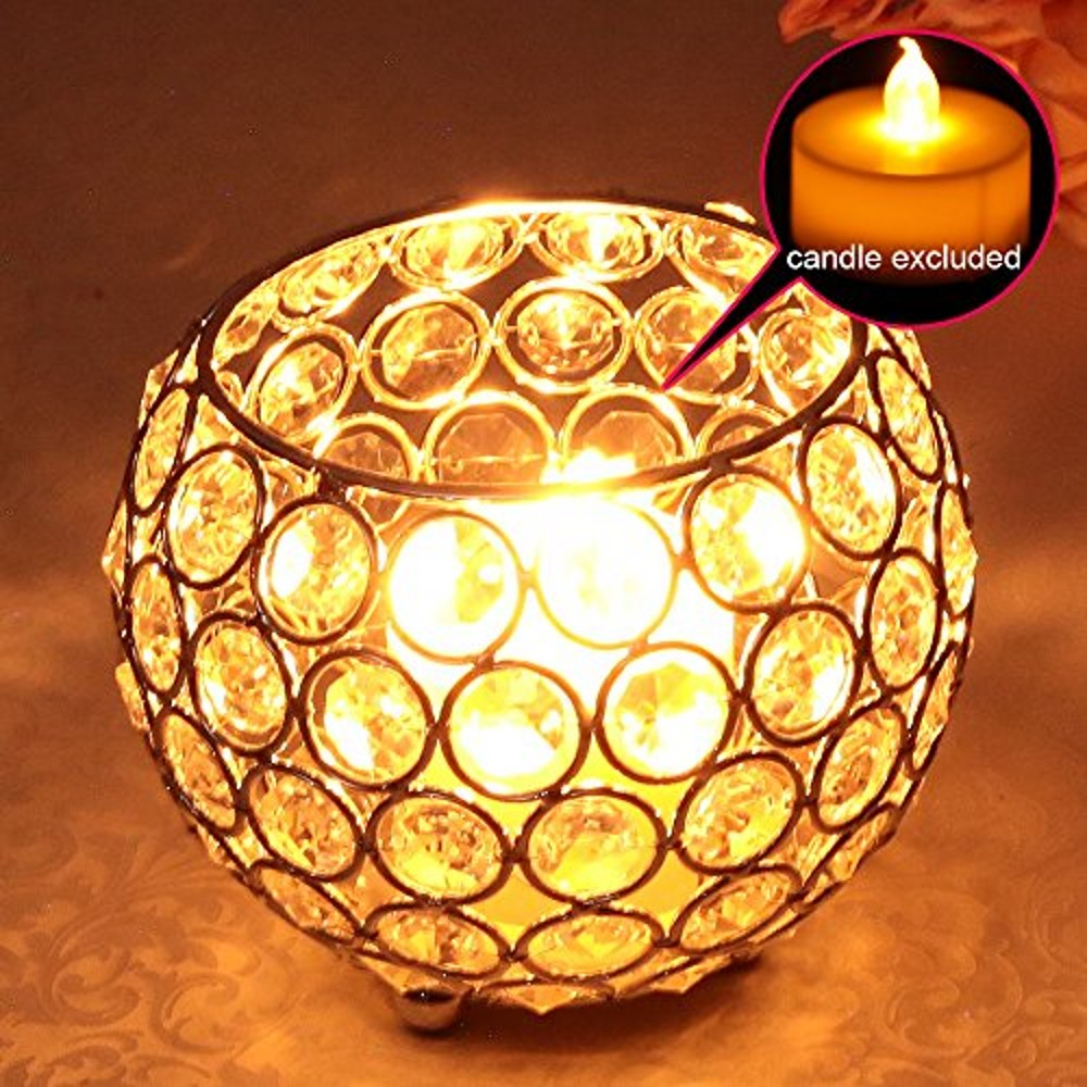 Crystal Tealight Candle Lantern Holders Glass Metal Candlesticks Wedding Table Centerpieces Handmade Gift Home Vases Decoraion(China)