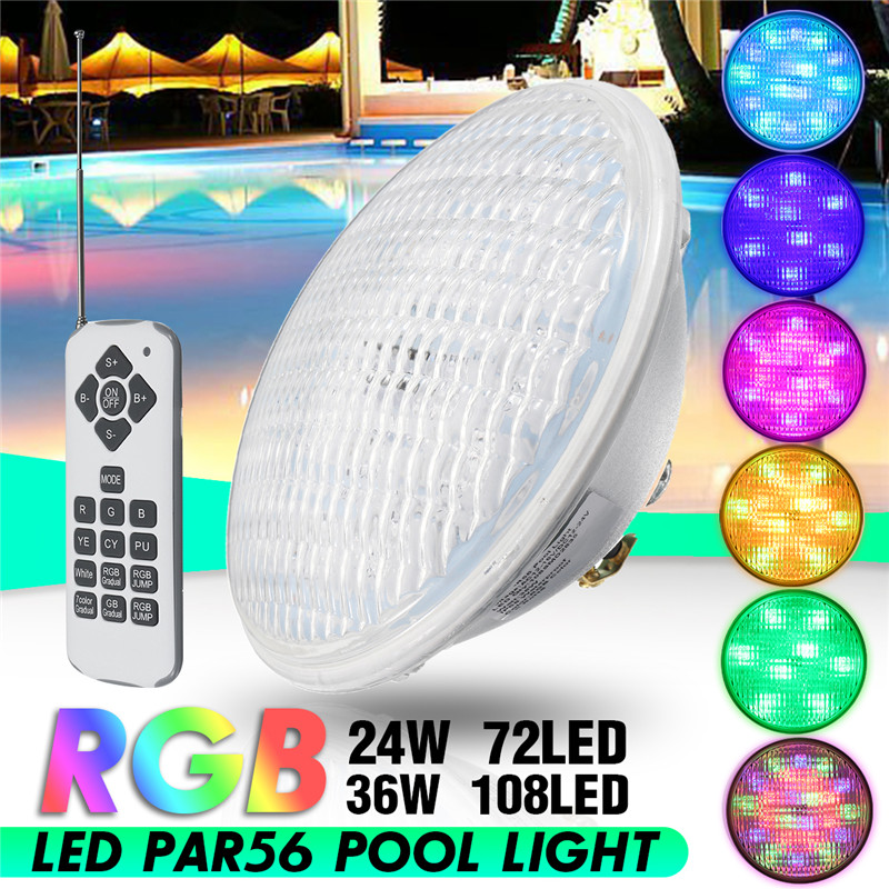 24W/36W LED Swimming Pool Lights RGB,Waterproof IP68 12v Colors Changing with Remote Control for Pond or Aquarium