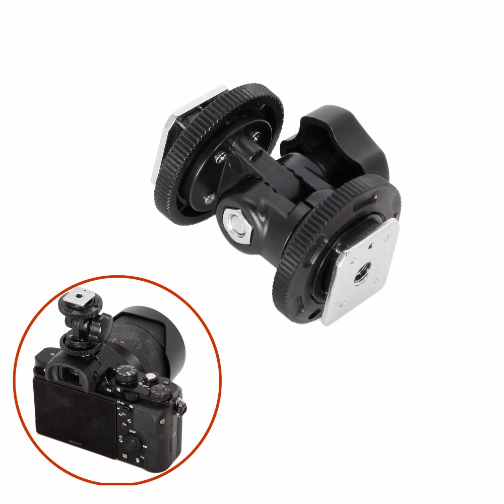 Dual Hot Shoe Adjustable Mount Adapter Bracket Holder for Video camera Photography Light Lighting for Canon Nikon Sony