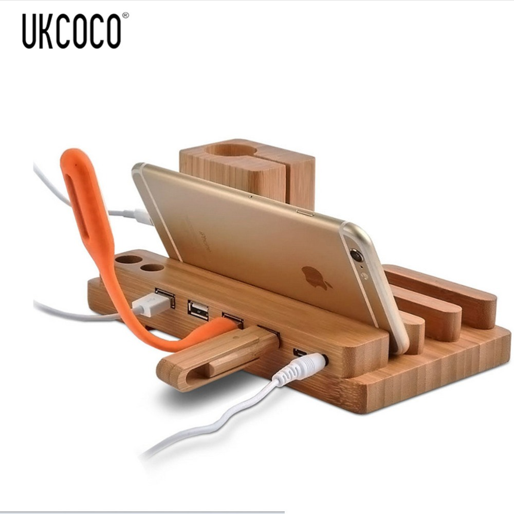 Wood Usb Charging Station Desk Stand Charger 3 Usb Ports