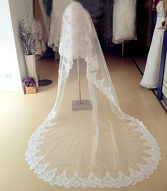 Ivory White wedding Veils Beaded Alencon Lace Cathedral Length Bridal Veil