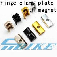 Aceoffix faltrad scharnier clamp platte mit magnet C schnalle für brompton BMX birdy anti verschütten C schnalle teile-in Sattelklemmen aus Sport und Unterhaltung bei
