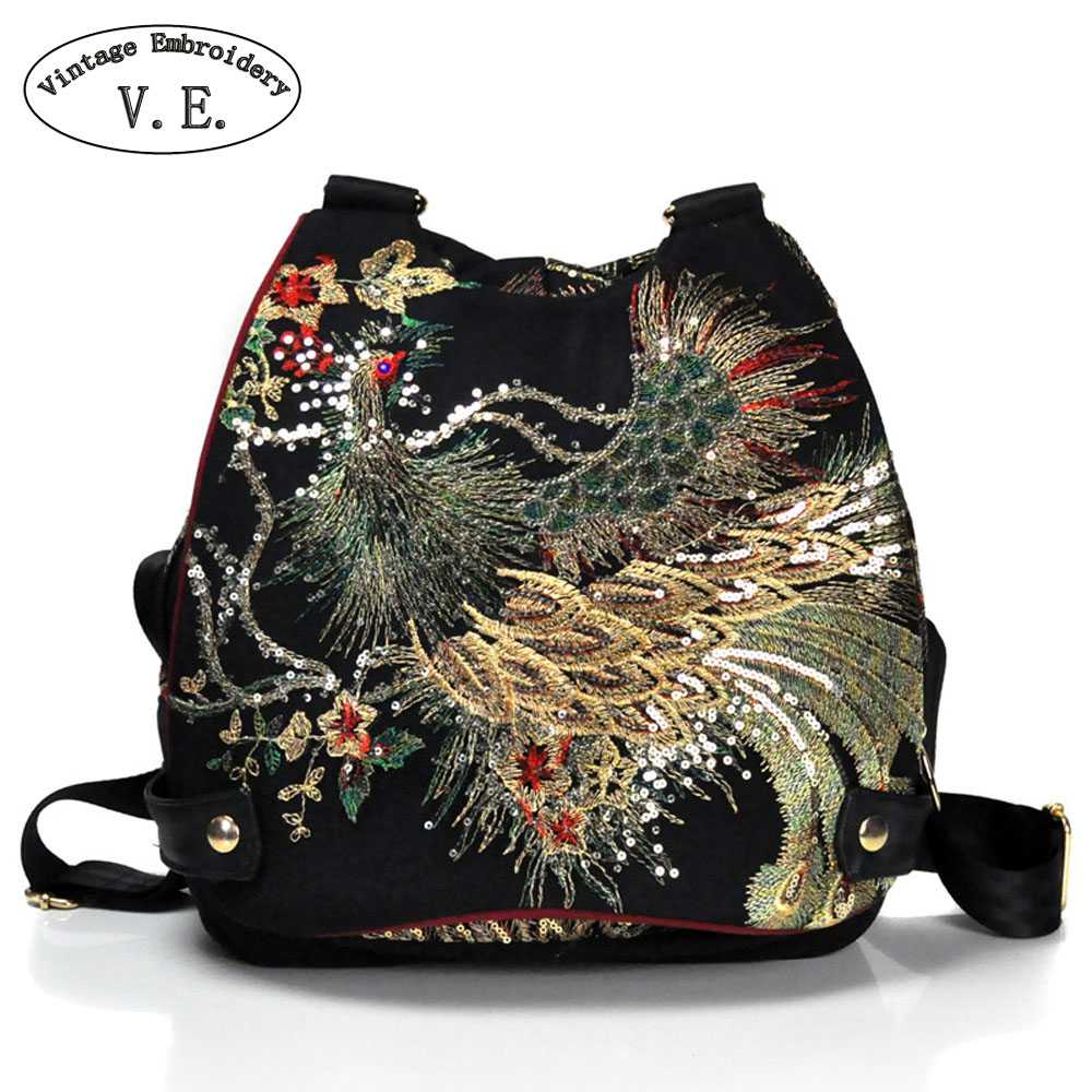 Vintage Embroidery Women Backpack Peacock Sequin Thai Boho Travel School Shoulder Bag For Woman Rucksack Mochila free shipping vintage hmong tribal ethnic thai indian boho shoulder bag message bag pu leather handmade embroidery tapestry 1018