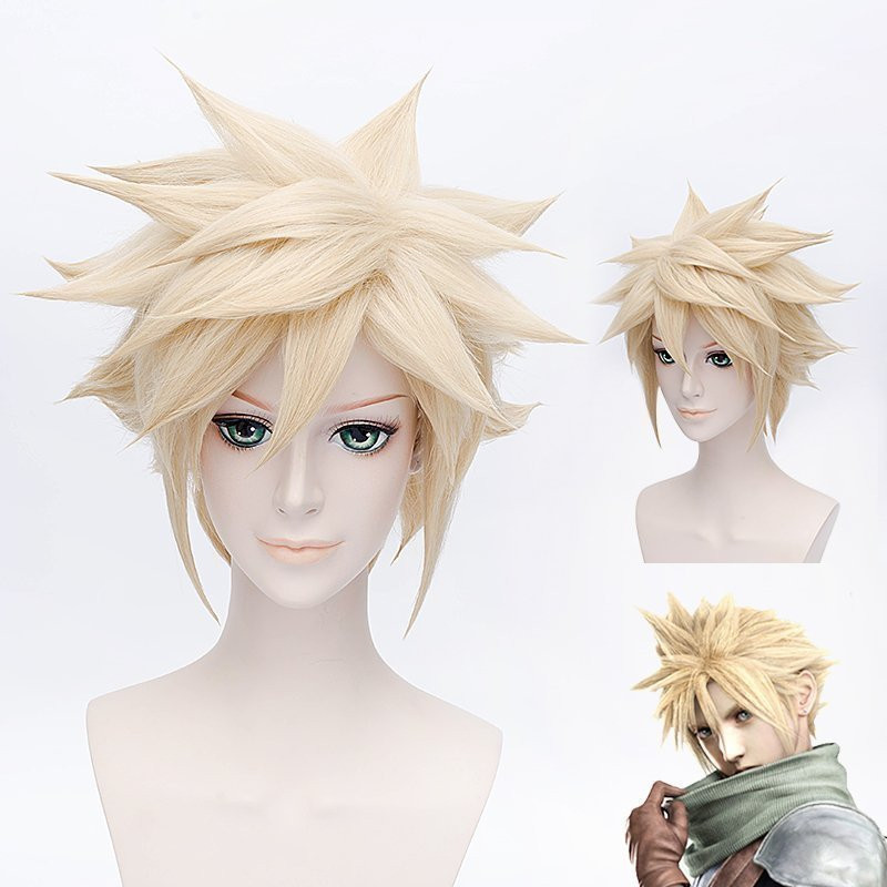 Anime FF15 FINAL FANTASY 7 Cloud Strife Cosplay Wig Halloween,Party,Stage,Play Short Hair Light golden High quality