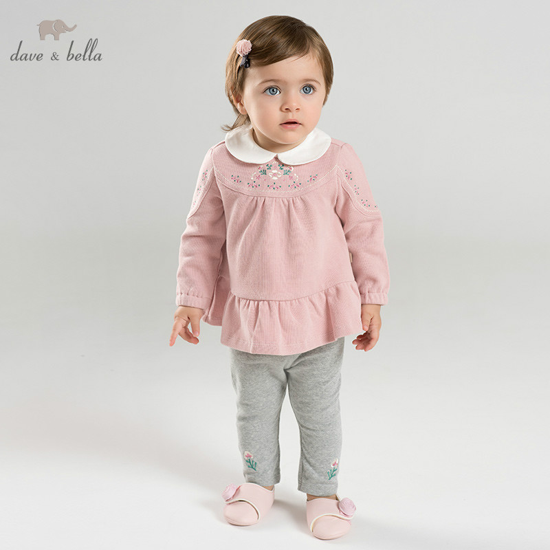 DBM9592 dave bella spring baby girl fashion clothing sets girls lovely long sleeve suits children print