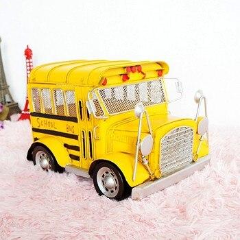 Metal American Campus Bus Model Classic Cars Retro Car Models Ornaments Birthday Gift Large School Bus Model