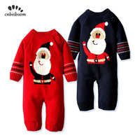 2019 Winter Warm Rompers For Baby Boys Girls Christmas Knitting Sweater Overalls Jumpsuit Santa Claus Gift newborn Costume