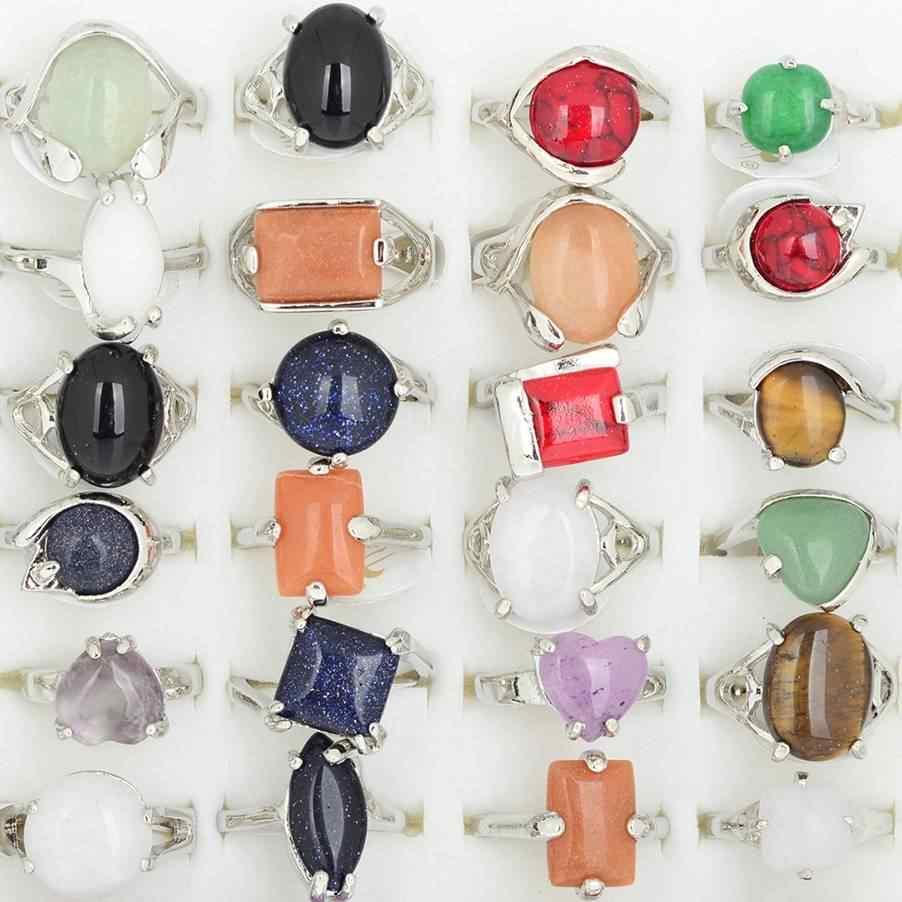 ขายส่งจำนวนมาก 20 pcs ทิเบตขนาดเล็กหินธรรมชาติแหวนผู้หญิงแหวนเงิน Charm เครื่องประดับผสมขนาด 16-20 มม. เรือ