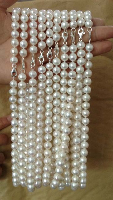 100% Selling Picture full wholesale 10 Qty 9mm round freshwater pearl Necklace Clasp 925 silver