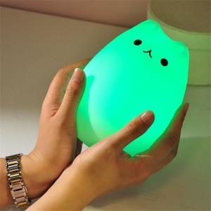 Image 4 - Цветной СВЕТОДИОДНЫЙ ночник, животное, кошка, стиль, силиконовый мягкий дышащий мультяшный Детский Светильник для детской комнаты, подарок для детей