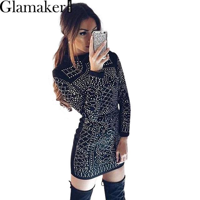 Glamaker Outono manga comprida preta sexy vestido de noite Alta pescoço partido mulheres clubwear Moda elegante queda strass vestidos