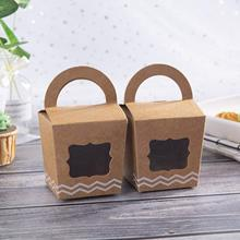 METABLE 24pcs Mini Cupcake Boxes Individual Containers With Handle and PVC Window,Disposable Kraft Paper Holders