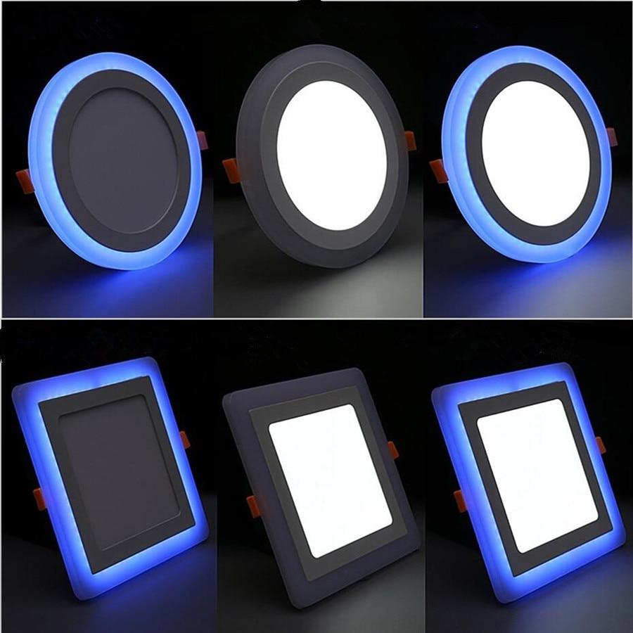Luminária led de teto dupla cor, 6w, 9w, 16w, 24w, luminária embutida, ponto redondo e quadrado lâmpada led AC85-265V interior