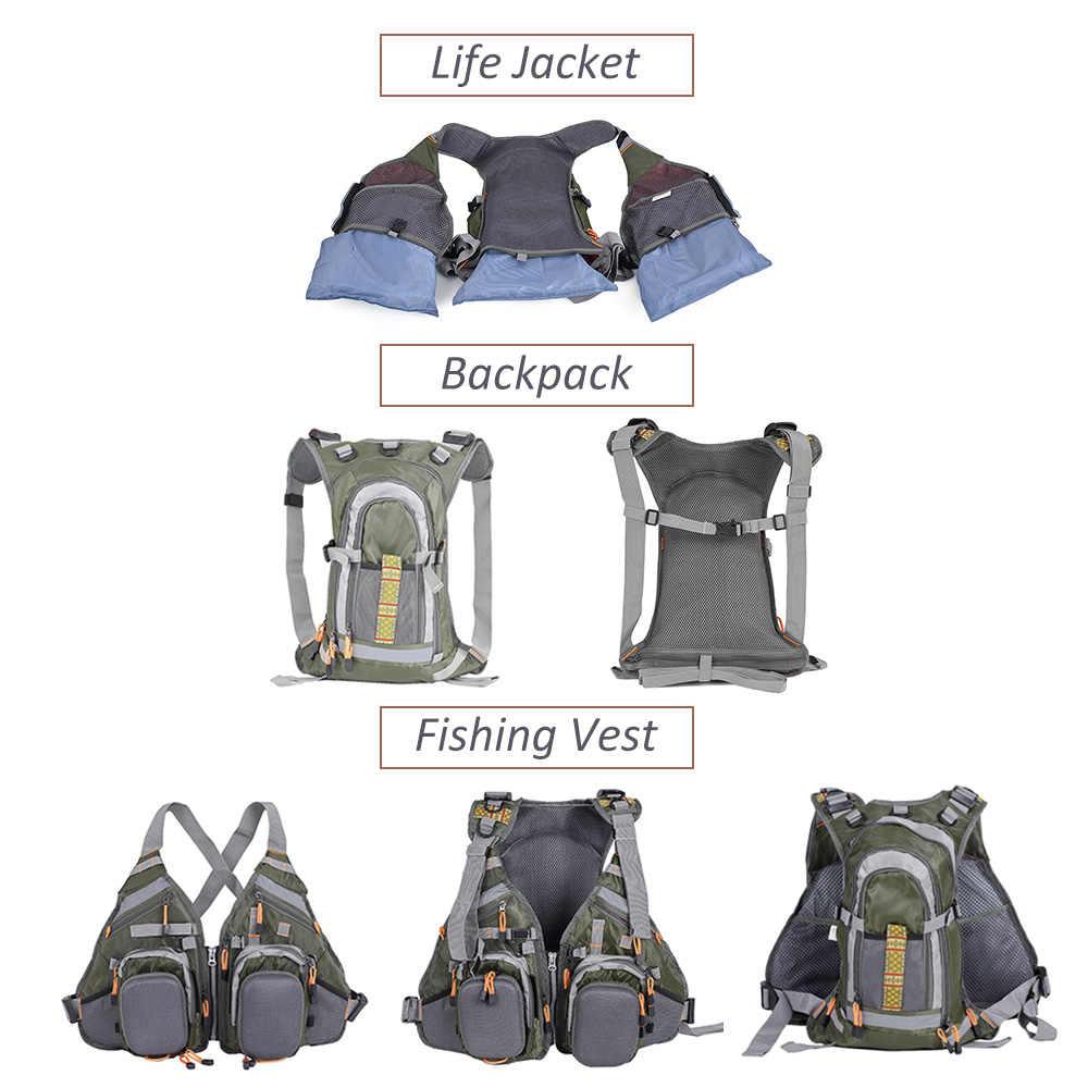 Lixada 3 в 1 рыболовный жилет с рюкзаком, комбинированный армейский зеленый рыболовный жилет, рыболовная куртка Colete Salva-Vidas