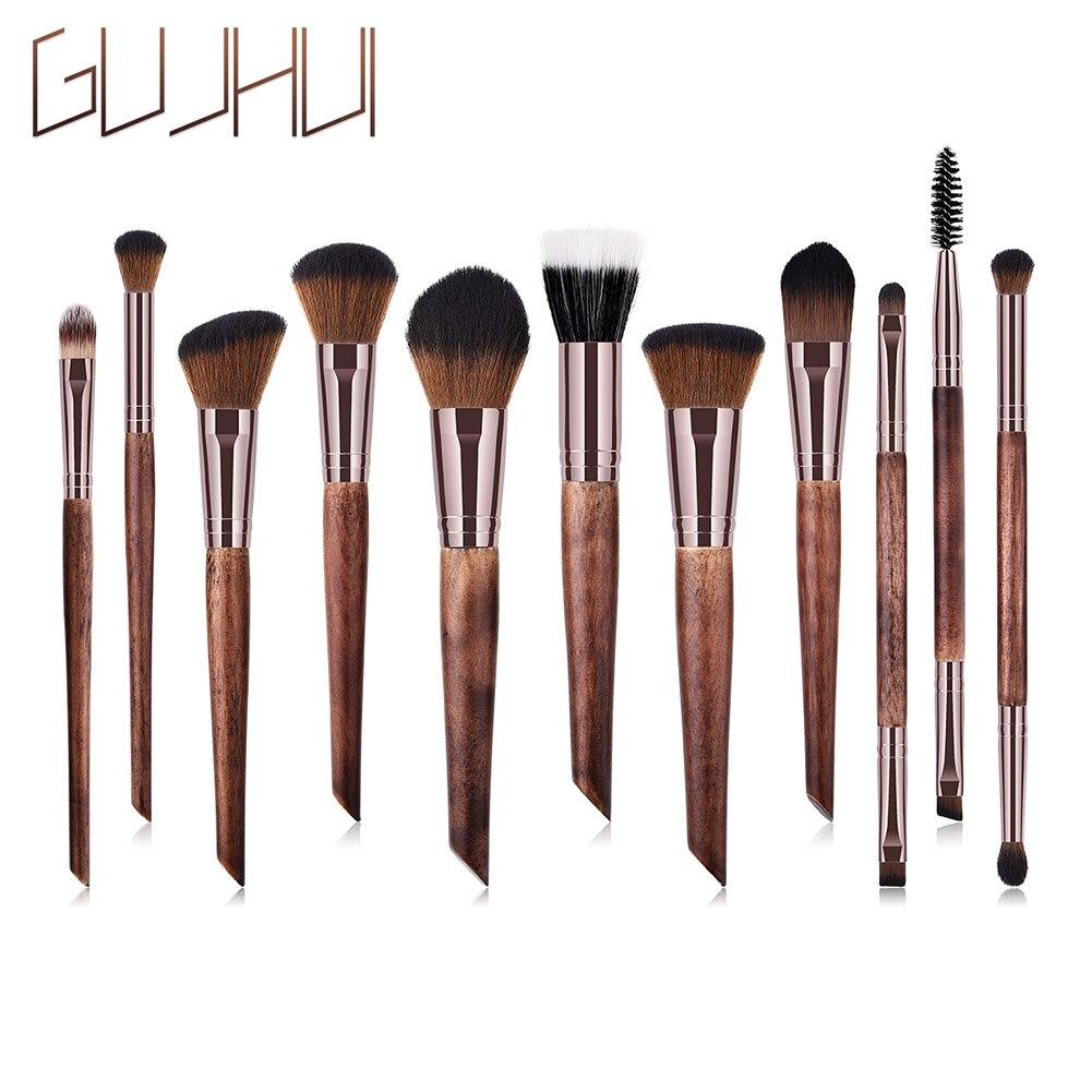 11 Pcs/Set Portable Makeup Brushes Wooden Handle Travel Contour Foundation Powder Brush Tools 789(China)