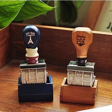 1Pcs New Hot Trace 2 Colors Korean Pop Zakka Retro Wooden Handle Roller Date Stamp H0750