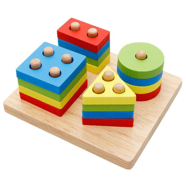 Educational Toys Puzzle cognitive toys Sorting and stacking forms Wood Toy 16 shapes and ...