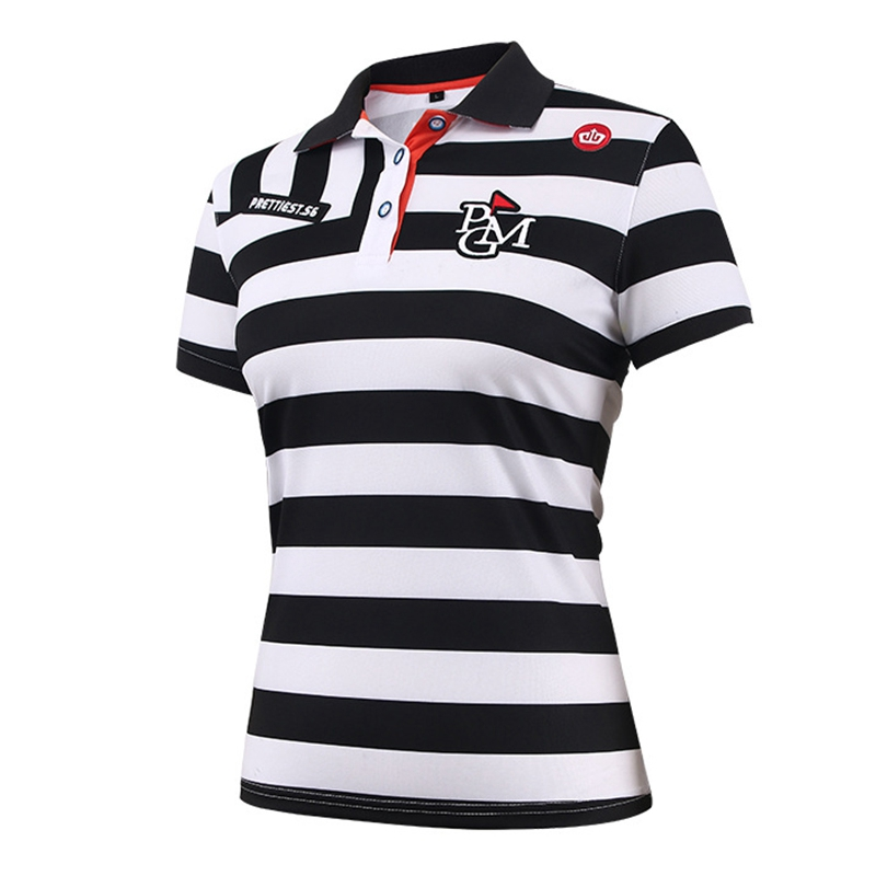 Golf Shirts Womens 2018 PGM Golf Wear Womens Short Sleeve Stripe Polo T-Shirt Breathable Elastic Summer Outdoor Sports Tees