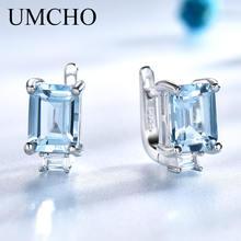 Женские серьги клипсы с голубым топазом umcho из серебра 925